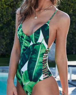 Women's Bathing Suits Tropical Print Spaghetti One Piece Swimsuit