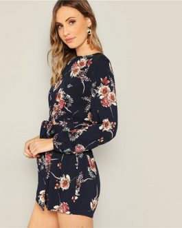 Bohemian Beach Floral Print Belted Romper
