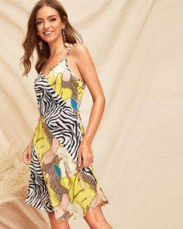 Boho Animal Print Slip Cami  Midi Dress