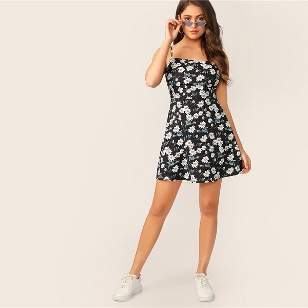 8f4dc662099ec Boho Floral Print Fit and Flare Cami High Waist Mini Dress