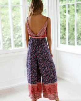 Boho Floral Print Plunging Sleeveless Women Jumpsuit