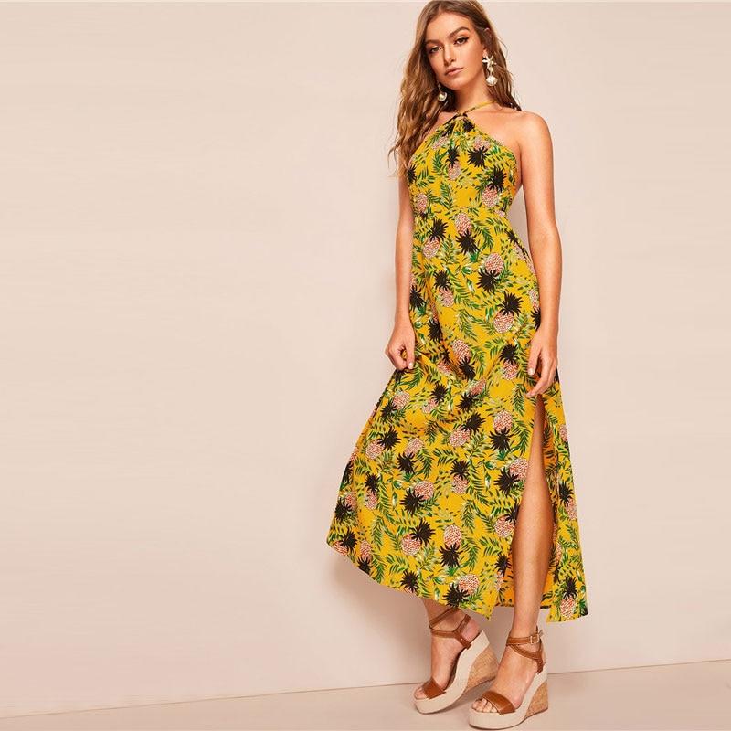 de4d0c6e08 Allover Pineapple Split Thigh Backless Halter Maxi Dress - Power Day ...