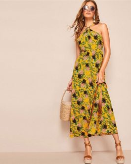 Allover Pineapple Split Thigh Backless Halter Maxi Dress
