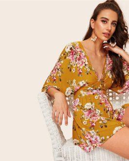 Boho Plunge Neck Split Back Floral Print Kimono Romper