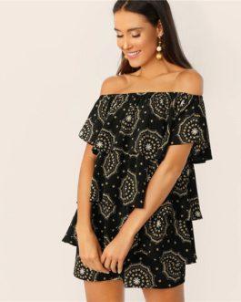 Boho Off The Shoulder Layered Ruffle Geometric Print Mini Dress
