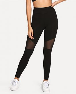 Casual Sexy Contrast Mesh Contrast Skinny Solid Leggings