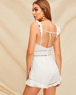 Casual Spaghetti Strap Skinny High Waist Women Playsuit