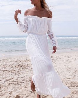 Chiffon Off The Shoulder Long Sleeve Pleated Long Maxi Dress