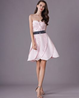 Satin Strapless Graduation Party Dress