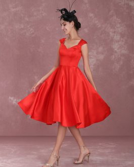 Cocktail Vintage Queen Anne Neckline Pleated A Line Party Dresses