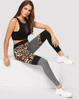 ColorBlock Leopard Print Skinny Casual Leggings