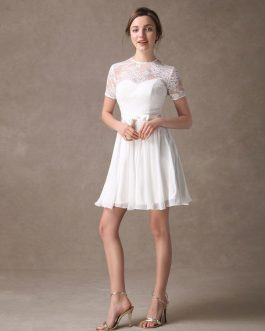 Draped Jewel Neck A-line Lace Sweet Bow Short Dress