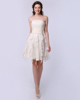 Elegant A-line Bright Silk Chiffon Ruffle Strapless Dress