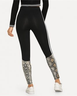 Elegant Modern Lady Solid Striped Side Snakeskin Print Leggings