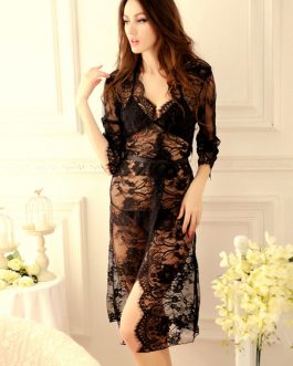 Floral Print Lace Semi-sheer Chiffon Sexy Lure Dress