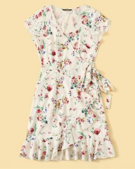 Floral Print Ruffle Sweet A Line Mini Dress
