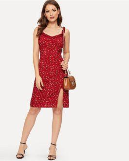 Ruffle Strap Slit  Floral Print Zipper Sheath  High Waist Sleeveless Short Dress
