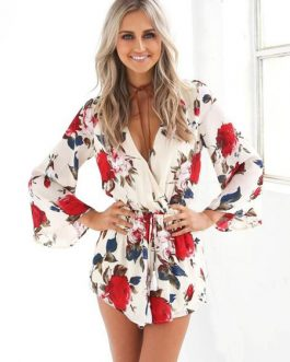 Floral Romper Women Long Sleeve Plunging Chiffon Playsuit