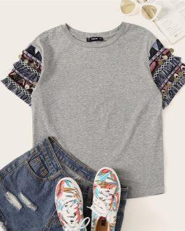 Folk Style Fringe Trim Heathered Casual T Shirt