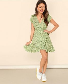 Fresh Daisy Print Ruffle Trim Surplice Mini Dresses