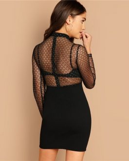 Geo Mesh Bodice Bodycon Sexy Elegant Party Dresses