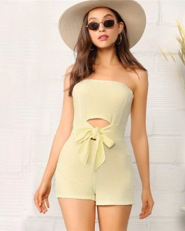 Glamorous Cut Out Strapless Skinny Women Playsuits