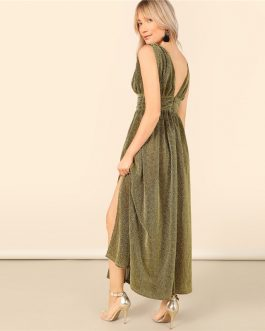 Glamorous Plunging Neck Glitter Split Maxi Dress