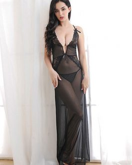 Gown Set Lace Semi Sheer Backless Sexy Lingerie For Women