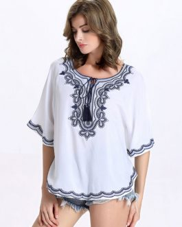Half Sleeves Lace Up Top