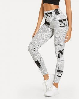 Highstreet Newspaper Letter Print Streetwear Leggings