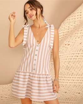 Knot Shoulder Button Front Striped Ruffle Hem Dress