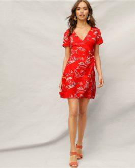 Knot Tropical Print Mini Boho A Line Fit and Flare Dress