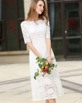 Lace Dress Bateau Half Sleeve Slim Fit Skater Dress For Women