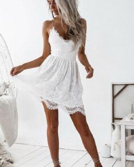 Lace Dress Boho Women V Neck Lace Up Backless Slip Dress