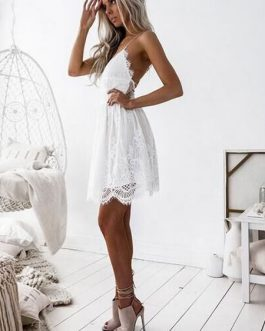 Lace Dress Boho Women V Neck Lace Up Backless Slip Dress