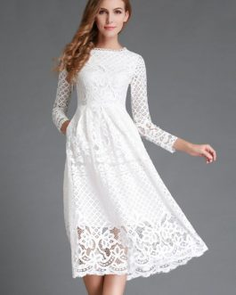 Lace Dress Long Sleeve Flared Dress For Women