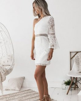 Lace Dress One Sholder Bell Sleeve Cut Out Dress