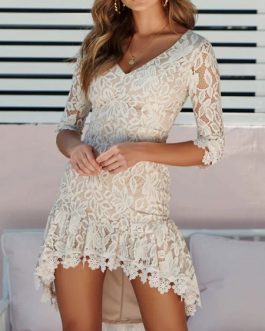 Lace Dress V Neck Half Sleeve High Low Mini Dress