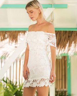 Lace Dress Women Bardot Dress Off The Shoulder Short Sleeve Dress