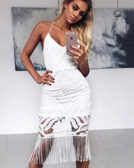 Lace Dress Women Bodycon Strappy Slim Fit Sheath Dress With Tassels