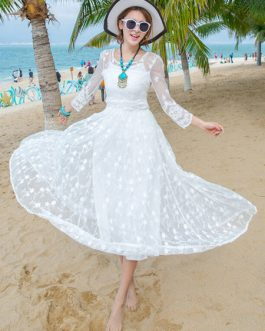 Lace Maxi Dress Women Sheer Long Beach Dress