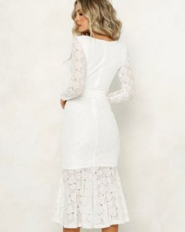 Lace Party Dress Long Sleeve Plunging Tie Waist Shaping Long Dress