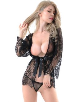 Lace Robe Set Semi Sheer Sexy Lingerie For Women