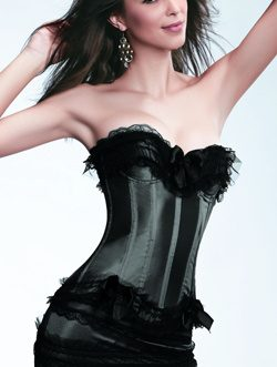 Lace Ruffles Corsets And Panty Set