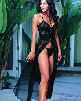 Lace Semi-Sheer Open Front Black Robe