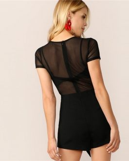 Lady Cap Sleeve Skinny Lace Sheer Sexy Romper