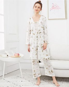 Leaf Print Cami Pajama Set Female Three-piece Robe Gown Sets