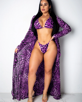 Leopard Swimsuit 3pcs Bikini Set and Long Sleeve Cover Up Push Up Padded Swimwear