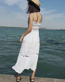 Long Boho Crochet Patch Spaghetti Strap Slit Open Front Pleated Slip Maxi Dress