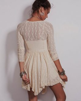Long Sleeve Lace Dress Ruffles V Neck Mini Dress
